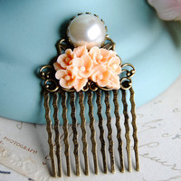 Peach Color Flower Bouquet Vintage white Pearl Cabochon Art Nouveau Filigree Bronze Hair Comb. Vintage Style. Bridesmaids Gift.