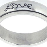 "Solid Rock Jewelry STAINLESS STEEL ""Faith, Hope, Love"" CHRISTIAN BIBLE VERSE SPIN RING STYLE 321-SIZE 4"