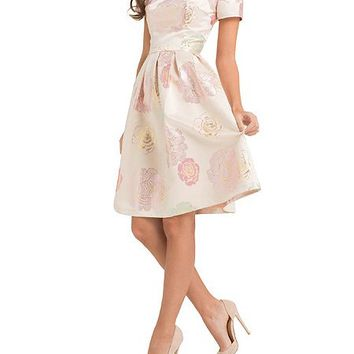Floral Brocade Scoop Back Midi Dress