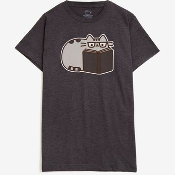 Pusheen The Cat READING PUSHEEN Unisex T-Shirt NWT Licensed & Official