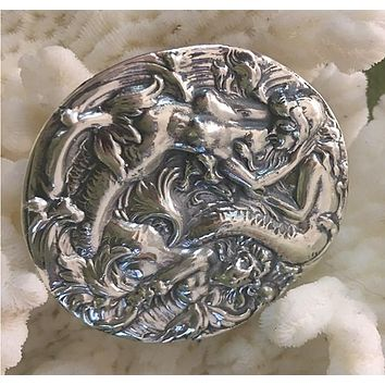 Mermaid Belt Buckle Sterling Silver