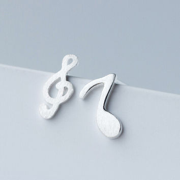 Personalized musical notes 925 sterling silver earrings,a perfect gift