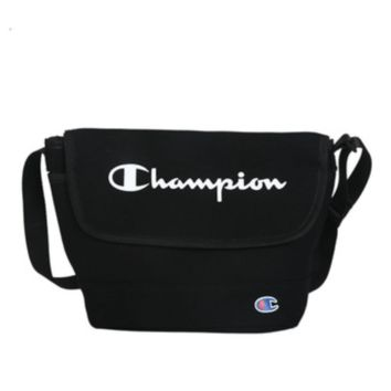 Champion Fashion New Letter Print Canvas Women Men Shoulder Bag Black