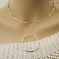Gold Choker / Gold Circle Necklace / Geometrical Rigid Necklace / Collar Necklace / Minimal Jewelry / Geo Jewellery / N261