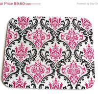 Christmas in July SALE Mouse Pad mousepad / Mat - Rectangle - candy damask / pink / black