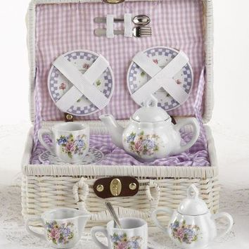 Childrens Porcelain Girls Tea Set - Purple Bouquet in Wicker Style Basket