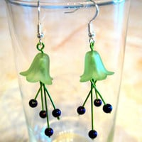 "Pierced Earrings Dangles ""Lily"" Green and Purply Blue Flowers"