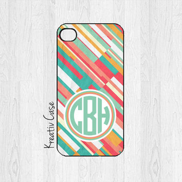 Monogrammed iPhone 5 Case, iPhone 5S Case, Graphic iPhone Case, Personalized iPhone Cover - K198