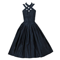 1950's Suzy Perette Black Silk Ribbon-Weave Halter Full Cocktail Party Dress