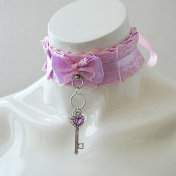 Kittenplay collar - Key to the Fairyland - pastel kawaii bdsm choker with lace - kitten play pet lolita daddy kink ddlg collar by nekollars