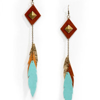 Claire Fong Earrings - Leather Earrings - Feather Earrings - $33.00