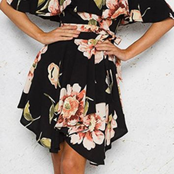 Wanting You Floral Pattern Short Sleeve Off The Shoulder Cross Wrap V Neck Ruffle Skater Flare A Line Mini Dress - 2 Colors Available