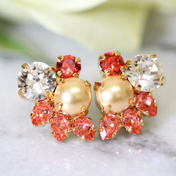 Coral Earrings, Bridal Cluster Earrings, Bridal Earrings, Swarovski Peach Earrings, Gift For Her, Bridesmaids Earrings, Coral Stud Earrings