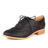 Pure Color Retro Lace Up Oxford Women Shoes