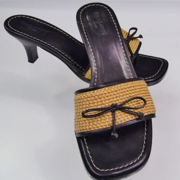 Eric Javits Leather Sandals Thong Slides Sz 9 M Woven Fabric Kitten Heel Italy