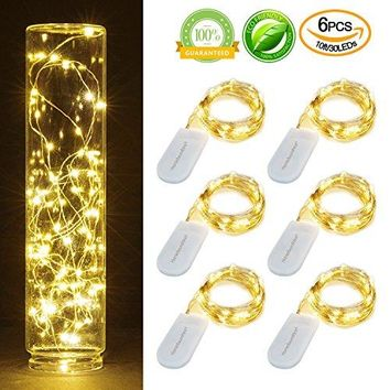 Pack of 6 Sets 10ft(3m) LED Starry String Lights 30 Micro Starry Leds on Silver Wire,2pcs CR2032 Batteries Required and Included, Works for DIY Wedding Centerpiece or Table Decorations (6,Warm White)
