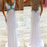 Custom Made A Line V Neck Sleeveless White Long Prom Dresses, White Long Formal Dresses