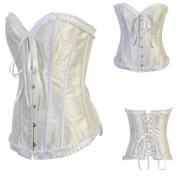 White Lace Corset with Front Button