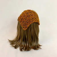 Hair Bandana Kerchief Crochet Gold Head Scarf Rockabilly Cover Tie Lace Triangle Headband Band Head Scarf Bronze