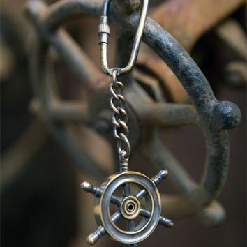 Antique Brass Ship's Wheel Keychain