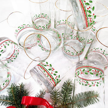 Arby's Christmas Glasses, Vintage Arby's 1984 Christmas Collection drinkware, Set of 12 tall 14 oz water glasses holly and berries, gold rim
