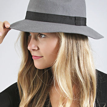 simple wool fall fedora - dark grey