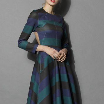 Demure Green Striped Open-back Dress