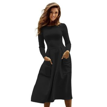 Women Casual Long Dresses  Female Long Sleeve Midi Dress Pleated Dress