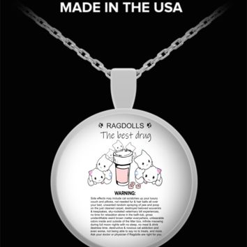 Ragdoll Cats The Best Drug Funny Therapy Necklace For Cat Moms Who Love Ragdolls Silver Kitty Lover Jewelry + Surprise Bonus