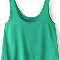 Green Sleeveless Crop Top