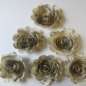 "6 Sheet Music Paper Flowers, 3"" Rose Blooms, Handmade Floral Decor by Always In Blossom"
