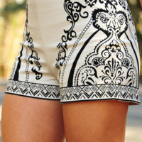 RESTOCK: Take Me Back Shorts: Cream/Black