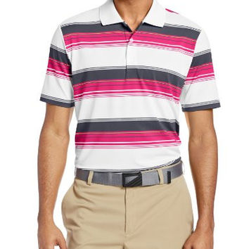 adidas Golf Men's Puremotion Merch Stripe Polo, White/Bahia Magenta/Lead/Bahia Glow, Small