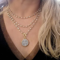 Silver and Gold Bead WRAP AROUND St. Benedict Long Pendant Necklace, Toggle Clasp
