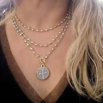 Long Silver and Gold Beaded WRAP AROUND St. Benedict Pendant Necklace with Toggle Clasp