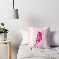 'Dancing feather' Throw Pillow by juliagrifol