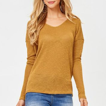 Mustard Lightweight Dolman Sweater