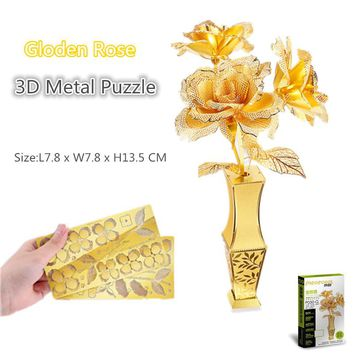 Piececool Gloden Rose 3D Metal Model kit