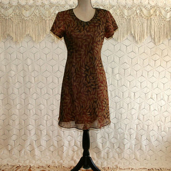 6a08010b1163 90s Dress Medium Petite Brown Print Midi Dress Short Sleeve Wome. Womens  Fashion