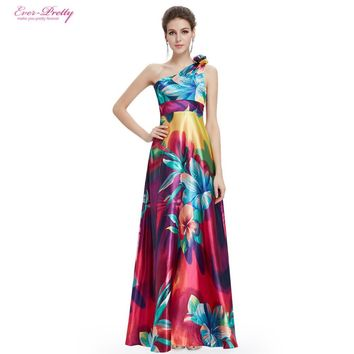 Free Shipping One Shoulder Floral Printed Flower Satin Evening Dress