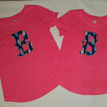 Girls Embroidered Applique Letter Shirt. Super Cute and makes a Great Gift