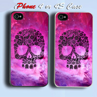 Floral Skull Nebula Custom iPhone 4 or 4S Case Cover