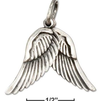 Sterling Silver Antiqued Double Angel Wings Charm Pendant