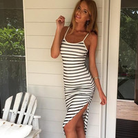New Summer Fashion Sexy Women Dress Sleeveless Bandage Striped Cotton Long Bodycon Dress = 1946040004