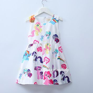 Cartoon dress My girl summer Fashion Little Pony Dresses Princess Party Costume Children Clothes Summer Sleeveless Clothing
