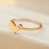 womens rose gold love ring with diamond gift-133