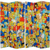 Oriental Furniture CAN-SIMP-733 Simpsons Multi-Colored 7 Ft. Tall Double Sided Cast Canvas Room Divider