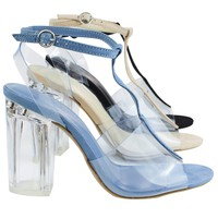 Natalie01 Natural By Wild Diva, Clear Perspex Block Heel w T-Strap & Lucite Transparent Straps