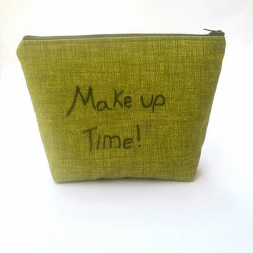 Personalized makeup bag, large cosmetic bag, zipper pouch, green make up bag, embroidered