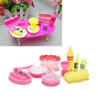 10 Pcs/set Dollhouse Cake Wineglass Tableware for Barbies Classic Play House D16